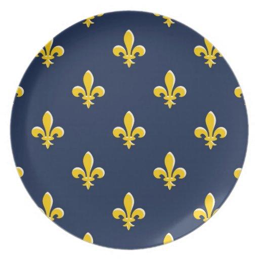 Emblema amarillo del explorador plato de cena