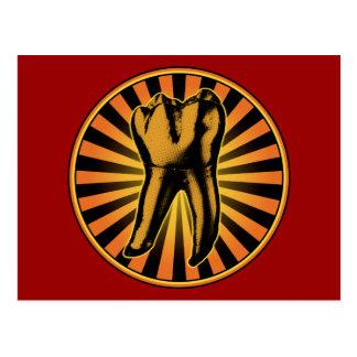 Emblema anaranjado del gráfico del diente tarjeta postal
