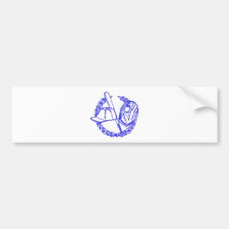 Emblema azul del béisbol etiqueta de parachoque