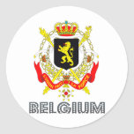 Emblema belga pegatinas redondas