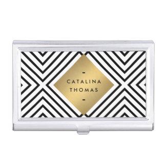 Emblema blanco y negro intrépido retro del oro del caja de tarjetas de presentación