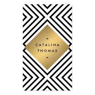 Emblema blanco y negro intrépido retro del oro del tarjetas de visita