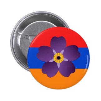 Emblema centenario y bandera del genocidio armenio pin redondo de 2 pulgadas