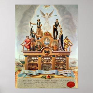 Emblema comercial de la sociedad unida póster