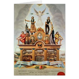 Emblema comercial de la sociedad unida tarjeta de felicitación