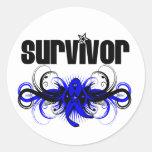 Emblema con alas Grunge del superviviente del cánc Etiquetas Redondas