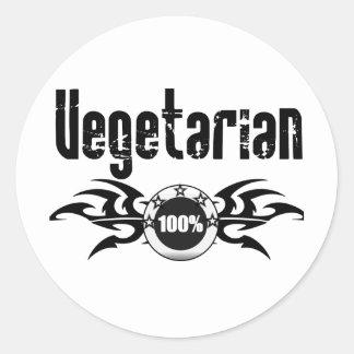 Emblema con alas Grunge vegetariano Etiqueta Redonda
