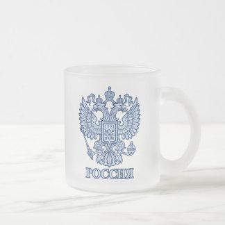 Emblema coronado imperial ruso de Eagle Taza De Cristal