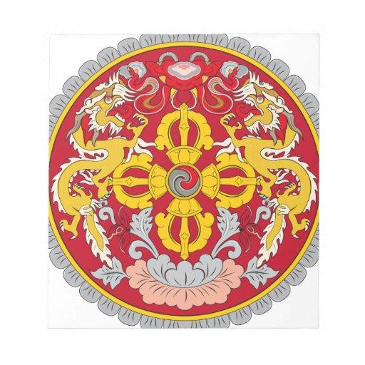 Emblema de Bhután. Adorno del dragón Bloc De Notas
