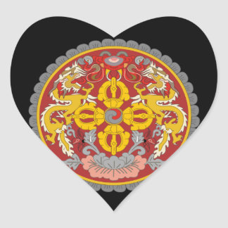 emblema de Bhután Pegatina En Forma De Corazón