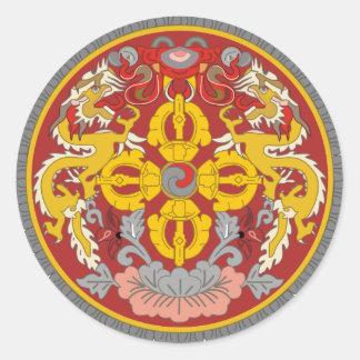 emblema de Bhután Pegatina Redonda