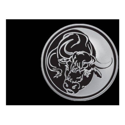 Emblema de Bull con el fondo de plata Tarjetas Postales