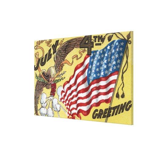 Emblema de Eagle que sostiene los fuegos artificia Lona Estirada Galerias