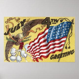 Emblema de Eagle que sostiene los fuegos artificia Impresiones