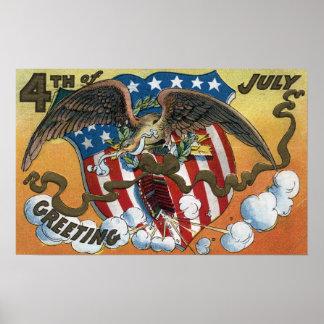 Emblema de Eagle que sostiene los fuegos artificia Póster