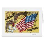 Emblema de Eagle que sostiene los fuegos artificia Felicitación