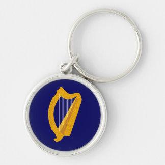 emblema de Irlanda Llavero Redondo Plateado