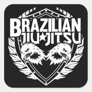 Emblema de Jiu Jitsu del brasilen@o Pegatina Cuadrada