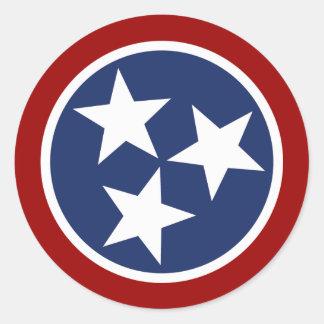 Emblema de la bandera de Tennessee Pegatina Redonda