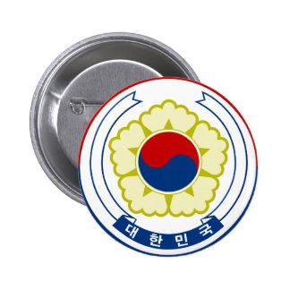 Emblema de la Corea del Sur Pin Redondo 5 Cm