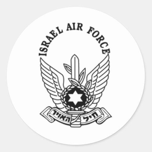 Emblema de la fuerza aérea del ejército israelí etiquetas redondas