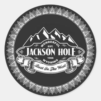 Emblema de la montaña de Jackson Hole Pegatina Redonda