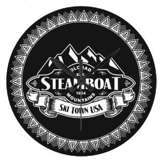 Emblema de la montaña del barco de vapor reloj redondo grande