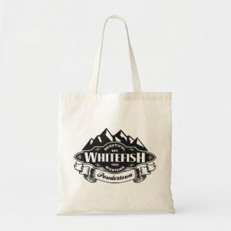 Emblema de la montaña del pescado blanco bolsa tela barata