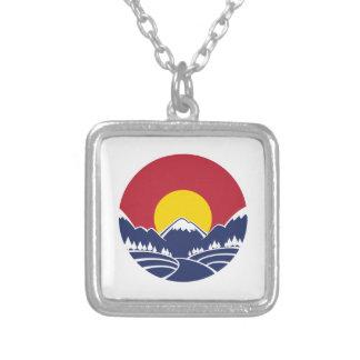 Emblema de la montaña rocosa de Colorado Colgante Cuadrado