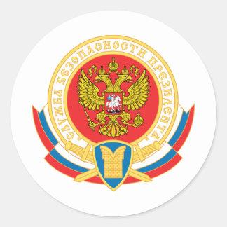 Emblema de la seguridad del presidente ruso pegatina redonda