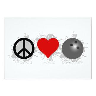 """Emblema de los bolos del amor de la paz invitación 5"""" x 7"""""""
