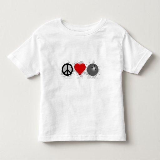Emblema de los bolos del amor de la paz playera