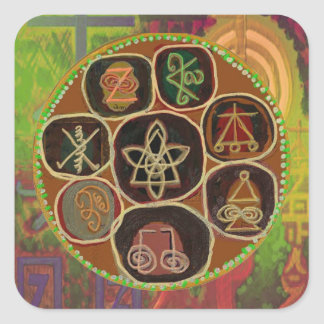 Emblema de ReikiHealingSymbol de Navin Joshi Pegatina Cuadrada