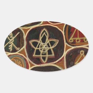 Emblema de ReikiHealingSymbol de Navin Joshi Pegatina Ovalada