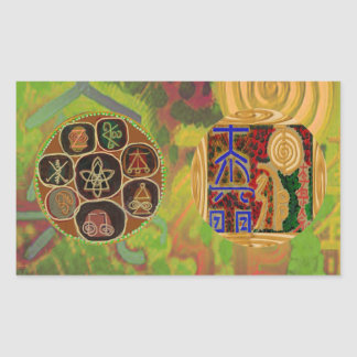 Emblema de ReikiHealingSymbol de Navin Joshi Pegatina Rectangular