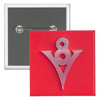 Emblema de V8 del cromo de la ilusión en el cuero  Pin Cuadrado