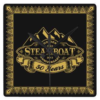 Emblema del aniversario del barco de vapor 50.o reloj cuadrado