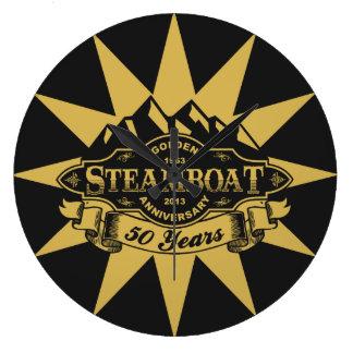Emblema del aniversario del barco de vapor 50.o reloj redondo grande