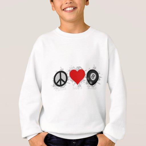 Emblema del billar del amor de la paz poleras