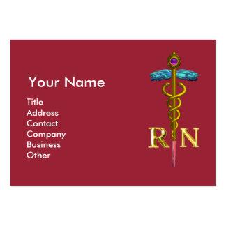 Emblema del caduceo NR de la ENFERMERA y del oro Tarjetas De Visita Grandes