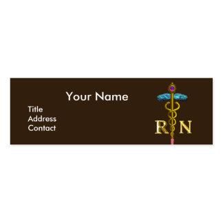 Emblema del caduceo NR de la ENFERMERA y del oro Tarjetas De Visita Mini