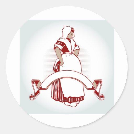 emblema del chica de granja pegatina redonda