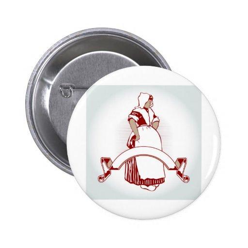 emblema del chica de granja pin redondo 5 cm