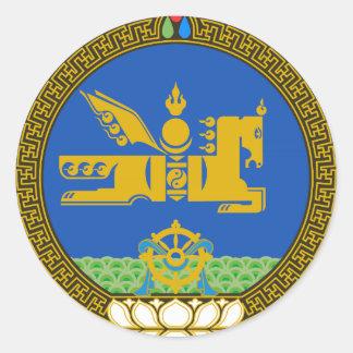 Emblema del estado de Mongolia Etiquetas Redondas