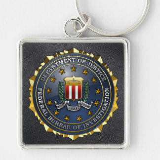 Emblema del FBI Llavero Cuadrado Plateado