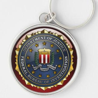 Emblema del FBI Llavero Redondo Plateado