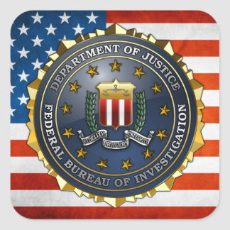Emblema del FBI Pegatina Cuadrada
