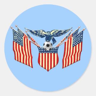 Emblema del fútbol de los E E U U del vintage de Pegatina Redonda