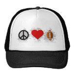 Emblema del fútbol del amor de la paz gorro de camionero