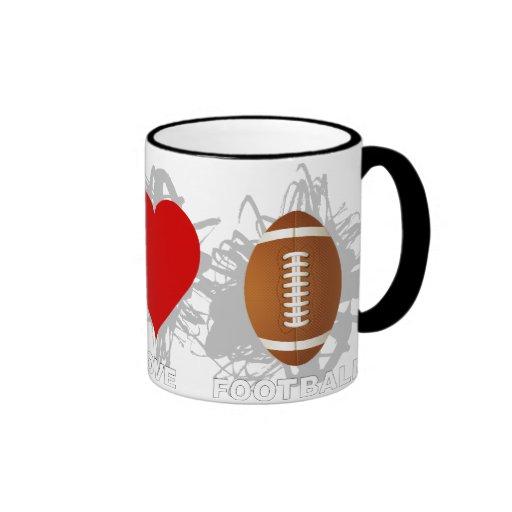 Emblema del fútbol del amor de la paz tazas de café